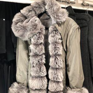 Jackets & Blazers - Faux Fur Reversible Hooded Anorak